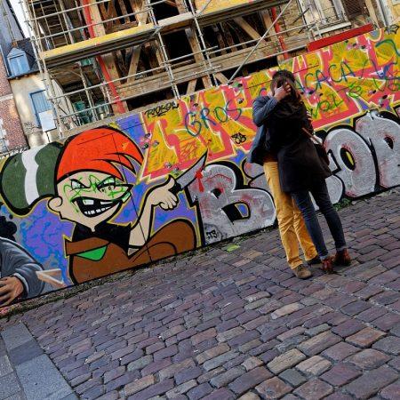 Les amoureux, rue saint Michel